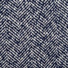 Herringbone Wool Blend Tweed Fabric in Navy and Cream 150cm Wide
